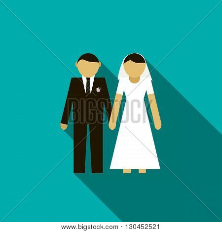 Bride and groom icon in flat style with long shadow. Wedding and celebration symbol