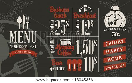 menu for a cafe or restaurant with bar price list