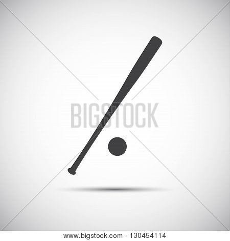 Simple black icon baseball bat vector illustration