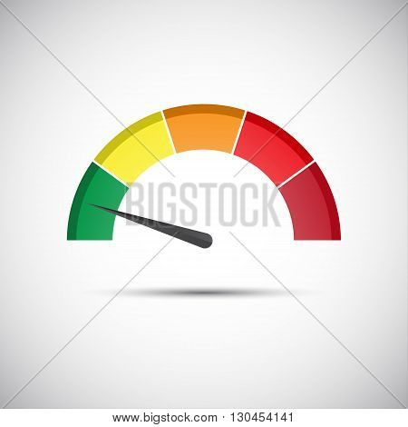 Color vector tachometer flowmeter with indicator in green part speedometer and performance measurement icon illustration for your website infographic and apps