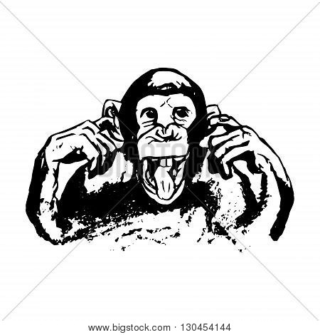 Graphic image of a monkey. Monkey showing tongue grimace. Monkey head - abstract illustration vector