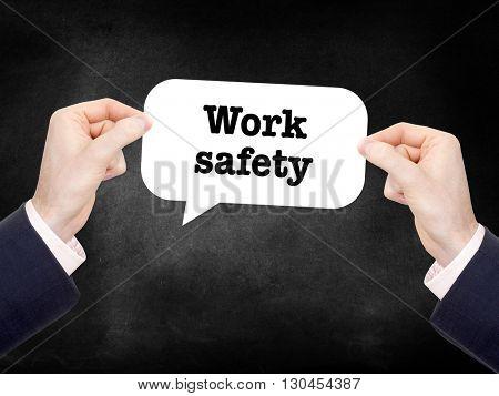 Work safety written in a speechbubble