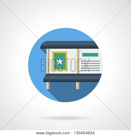 Advertising board with green posters and ads. Urban and roadside advertisement, announcements and information at bus station. Round flat color style vector icon.