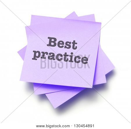 Best practice written on a note