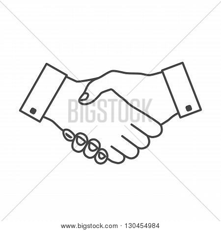 Handshake icon thin gray outline with white fill. Hand gesture used as a greeting. In business used for the deal or agreement to become binding.