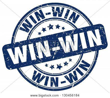 win-win blue grunge round vintage rubber stamp