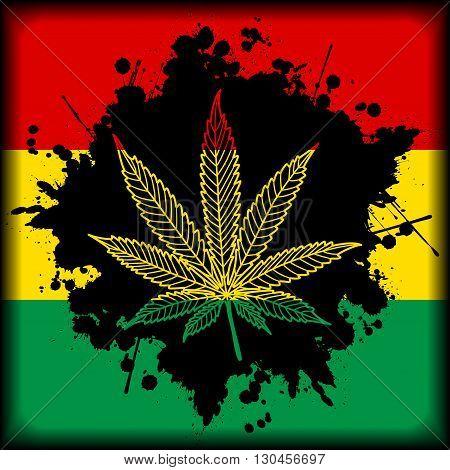Illustration of marijuana leaf as a symbol and background
