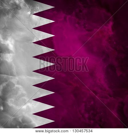 Flag of Qatar. Amazing stone texture with coloration.