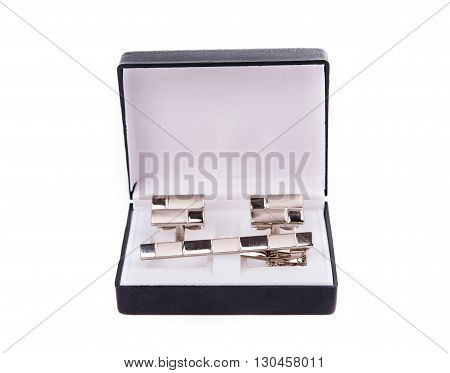 contemporary, fashion cufflinks on a white background