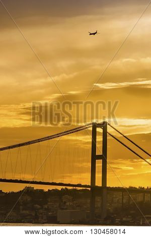 Istanbul Turkey. Istanbul bosphorus sunset coast worth a beautiful image.Istanbul strait evening views of the Bosphorus Bridge