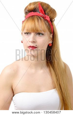 portrait of retro beautiful pin up girl on white