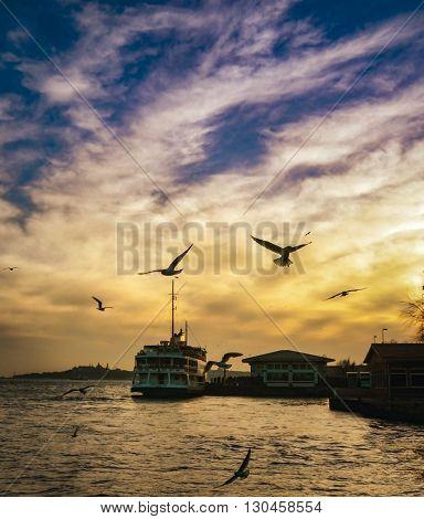 Istanbul Turkey - February 2 2014: Sea of Marmara the Bosphorus in the evening. sunset seagulls and people.Istanbul Beşiktaş pier appears.