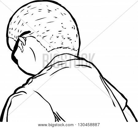 Outline Of Single Man Looking Down