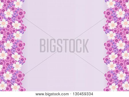 Vector bright background with a pattern of lilac, purple, white flowers of lilac on the sides