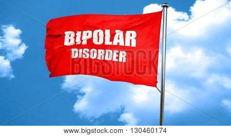 Bipolar sign background, 3D rendering, a red waving flag