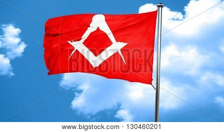 Masonic freemasonry symbol, 3D rendering, a red waving flag