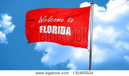 Welcome to florida, 3D rendering, a red waving flag