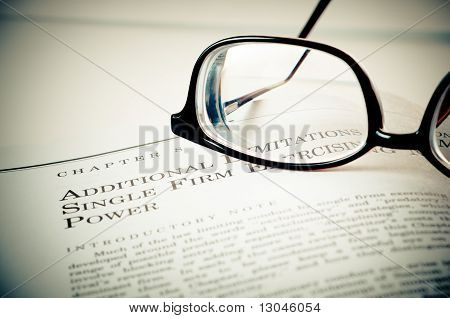 Eye Glasses On A Legal Book