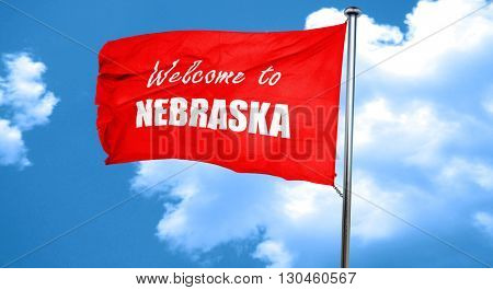 Welcome to nebraska, 3D rendering, a red waving flag