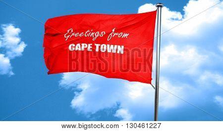 Greetings from cape town, 3D rendering, a red waving flag