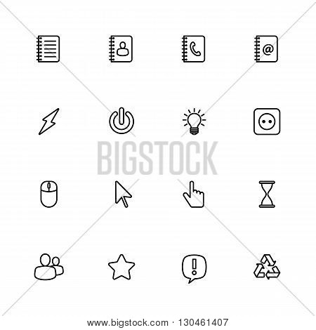 black line web icon set for web design user interface (UI) infographic and mobile application (apps)