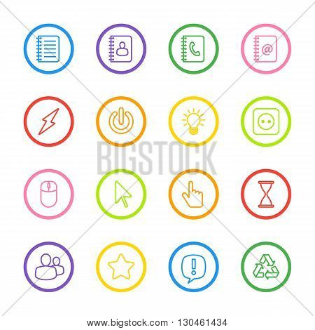 colorful line web icon set with circle frame for web design user interface (UI) infographic and mobile application (apps)