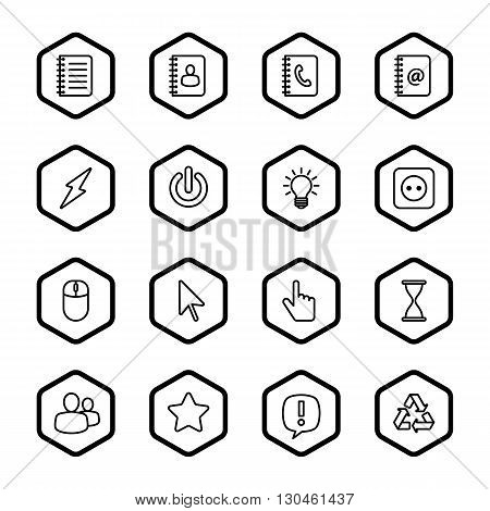 black line web icon set with hexagon frame for web design user interface (UI) infographic and mobile application (apps)