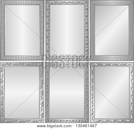 set of isolated silver backgrounds with decorative frames