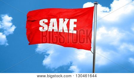 sake, 3D rendering, a red waving flag
