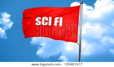 sci fi, 3D rendering, a red waving flag