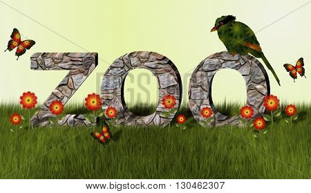 ZOO spelled out as stone wall in grass.  Green and orange magpie bird sits on one of the letters. Orange and yellow flowers and butterflies in foreground.
