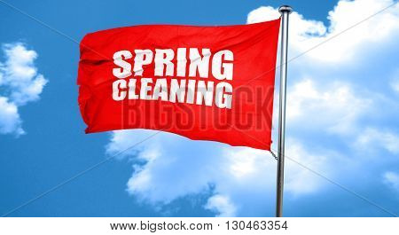 spring cleaning, 3D rendering, a red waving flag