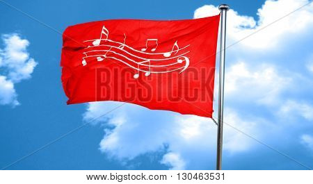 Music note background, 3D rendering, a red waving flag