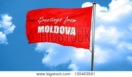 Greetings from moldova, 3D rendering, a red waving flag