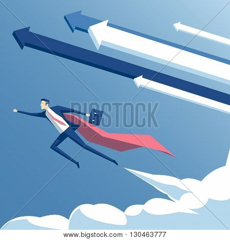vector illustration super businessman and super employee flying in the sky with arrows and clouds business concept the success growth and determination
