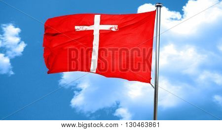 Christian cross icon, 3D rendering, a red waving flag