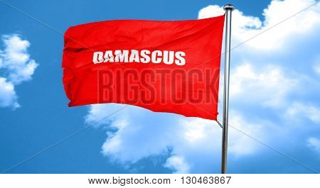 damascus, 3D rendering, a red waving flag