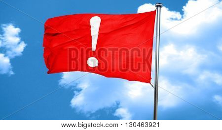 Hazard warning sign, 3D rendering, a red waving flag