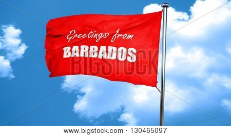 Greetings from barbados, 3D rendering, a red waving flag