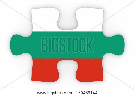 Bulgarian Flag Puzzle Piece Top Down Orthographic 3D Illustration