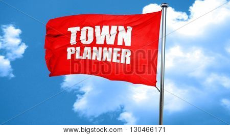 townplanner, 3D rendering, a red waving flag