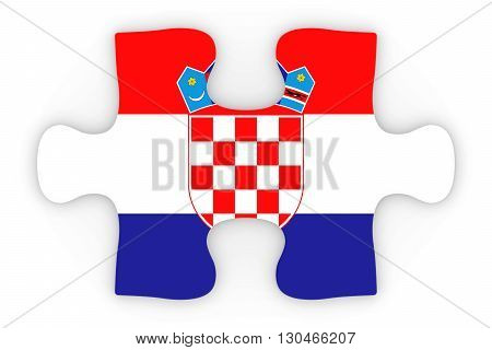 Croatian Flag Puzzle Piece Top Down Orthographic 3D Illustration