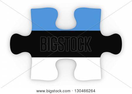 Estonian Flag Puzzle Piece Top Down Orthographic 3D Illustration