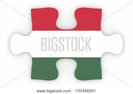 Hungarian Flag Puzzle Piece Top Down Orthographic 3D Illustration