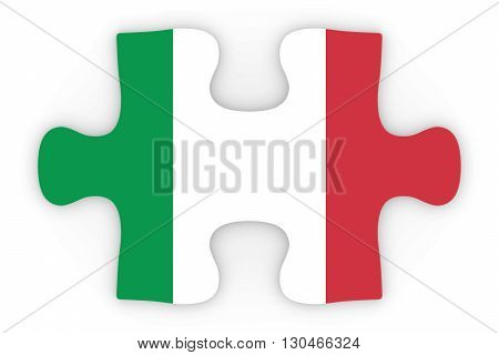Italian Flag Puzzle Piece Top Down Orthographic 3D Illustration