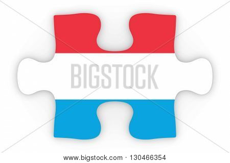 Luxembourgian Flag Puzzle Piece Top Down Orthographic 3D Illustration