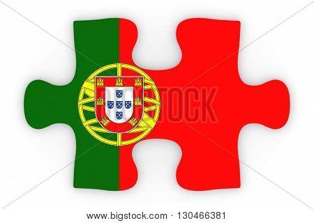 Portuguese Flag Puzzle Piece Top Down Orthographic 3D Illustration