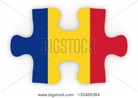 Romanian Flag Puzzle Piece Top Down Orthographic 3D Illustration