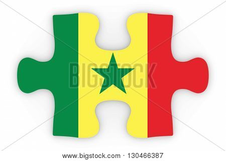 Senegalese Flag Puzzle Piece Top Down Orthographic 3D Illustration