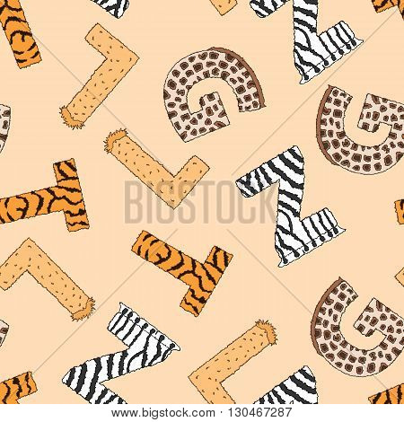 Seamless background with furry letters with animal pattern. Vector illustration on yellow background. Wallpaper for kids. Design for school and preschool